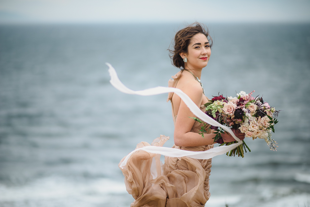 Bouquet Ribbons in WindColours of the Wind Erin Wallis Photography West Coast Weddings Magazine
