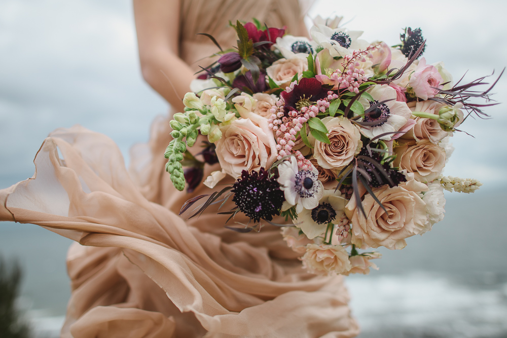 Anemone Bouquet in the Wind Blush Gown Colours of the Wind Erin Wallis Photography West Coast Weddings Magazine