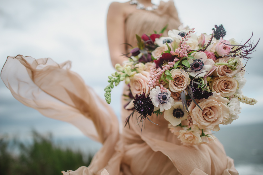 Blush Gown Anemone Bouquet Colours of the Wind Erin Wallis Photography West Coast Weddings Magazine