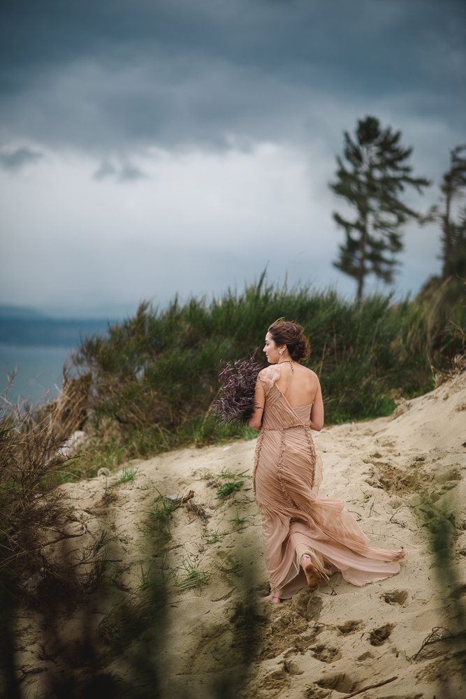 Bride in Blush Gown on BeachColours of the Wind Erin Wallis Photography West Coast Weddings Magazine