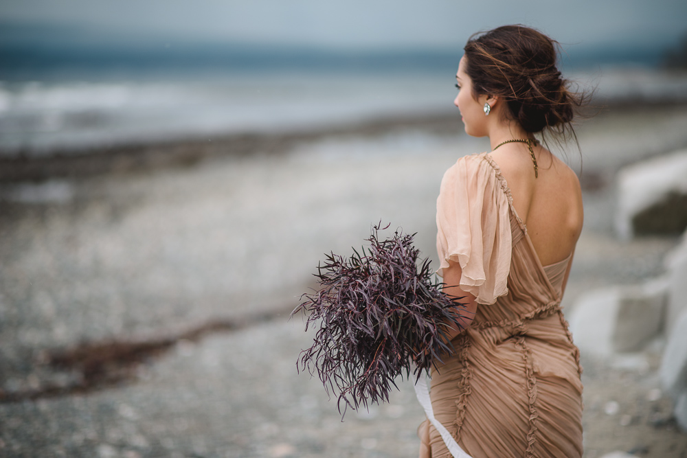 Bride in Blush Gown by Ocean Colours of the Wind Erin Wallis Photography West Coast Weddings Magazine