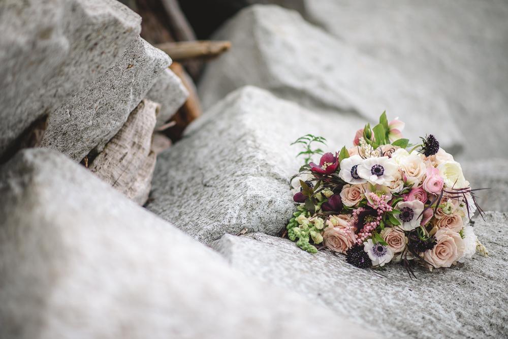 Anemone Purple Bouquet on Rock Colours of the Wind Erin Wallis Photography West Coast Weddings Magazine