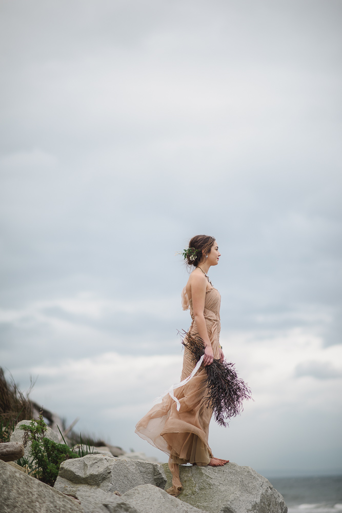 Blush bridal gown with lavender bouquet Colours of the Wind Erin Wallis Photography West Coast Weddings Magazine