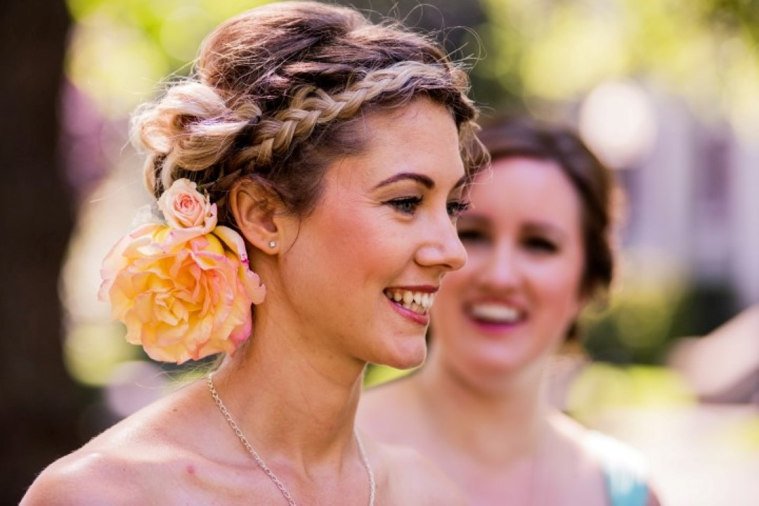 Bridesmaid with Flower in her Hair Love in the Summer St. Anns Academy Vancouver Island