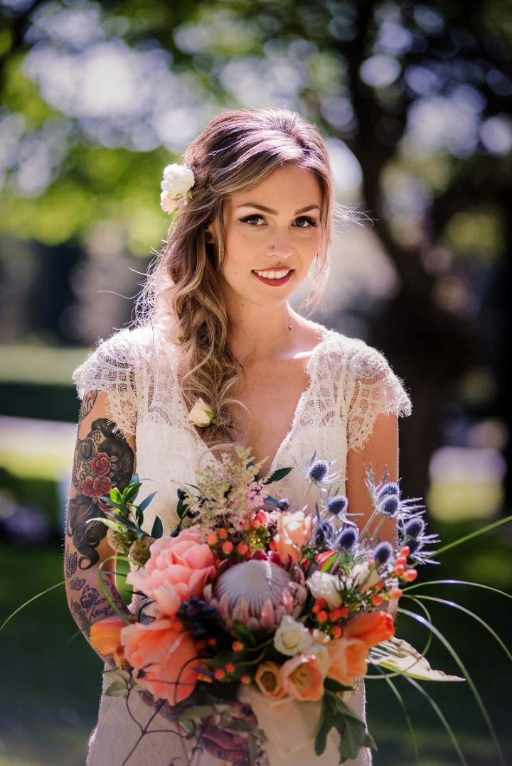 Boho Bride with bouquet Love in the Summer Bridesmaids by Funkytown Photography West Coast Weddings