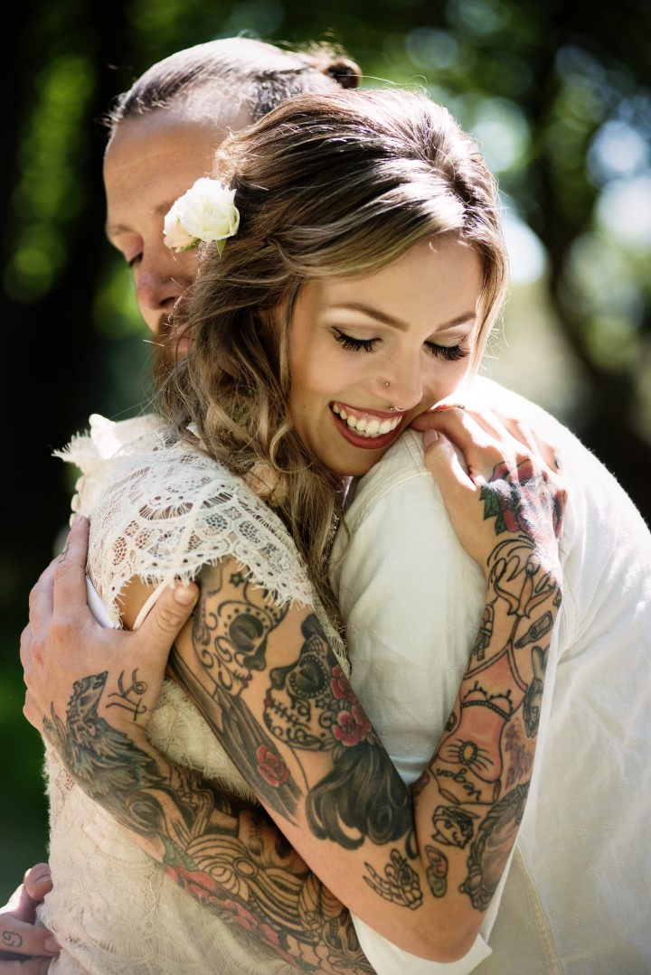 Tattooed Bride Love in the Summer Bridesmaids by Funkytown Photography West Coast Weddings