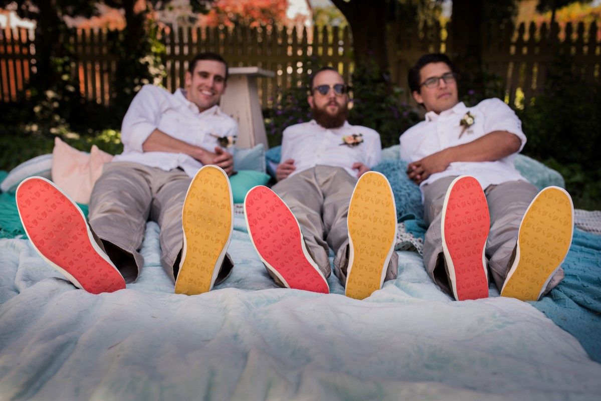 Groomsmen with Coloured Sneakers and White Linen Shirts The Hudson's Bay