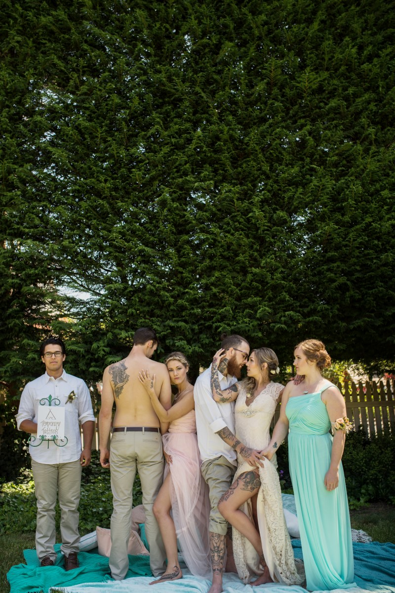 Tattooed Wedding Party Shirtless and Pastel Gowns West Coast Weddings Magazine