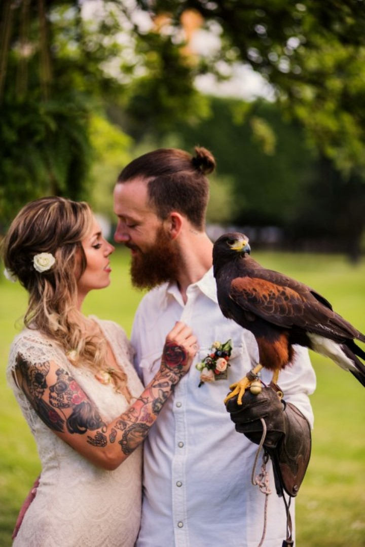 Bride and Groom with Falcon Love in the Summer Bridesmaids by Funkytown Photography West Coast Weddings