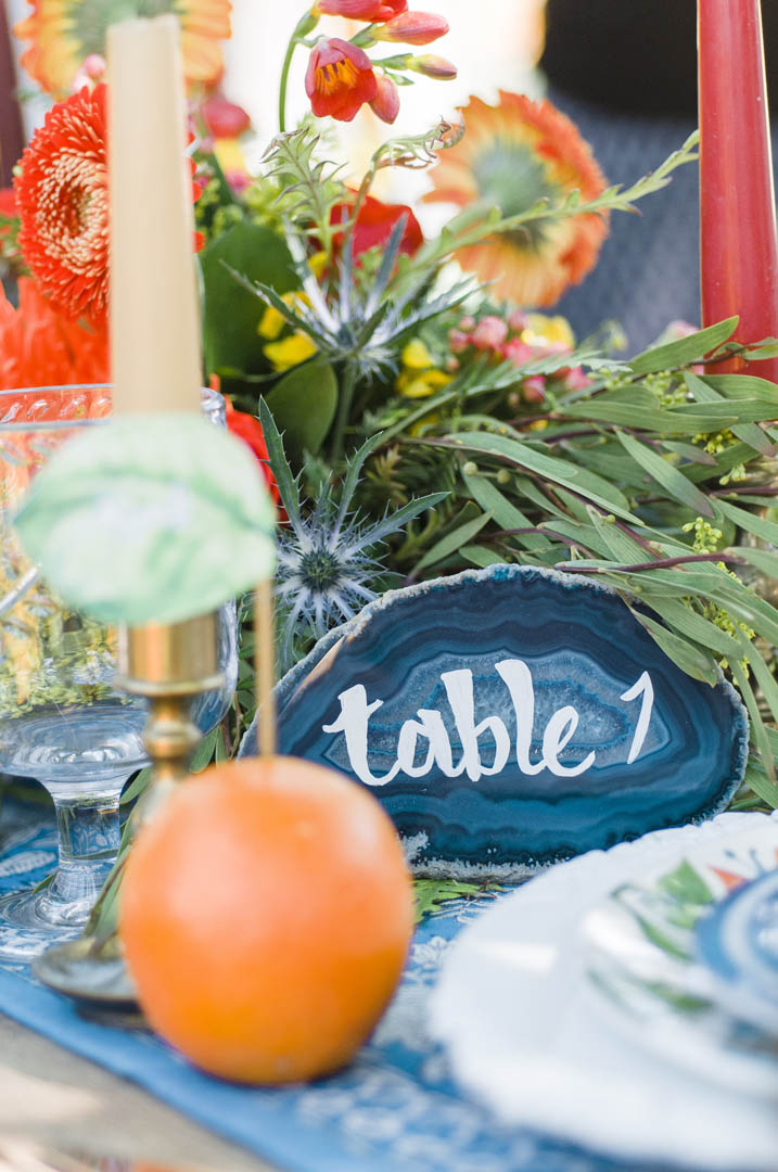 Table Number for Fiesta Wedding Painted Rocks Vancouver Island