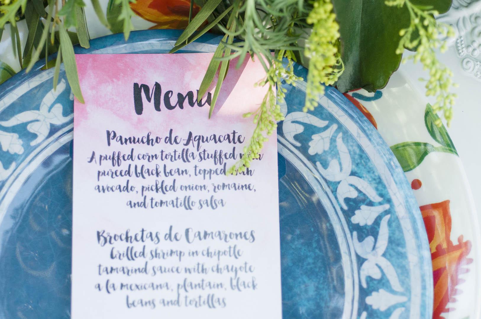 Menu for Fiesta Wedding on Vancouver Island