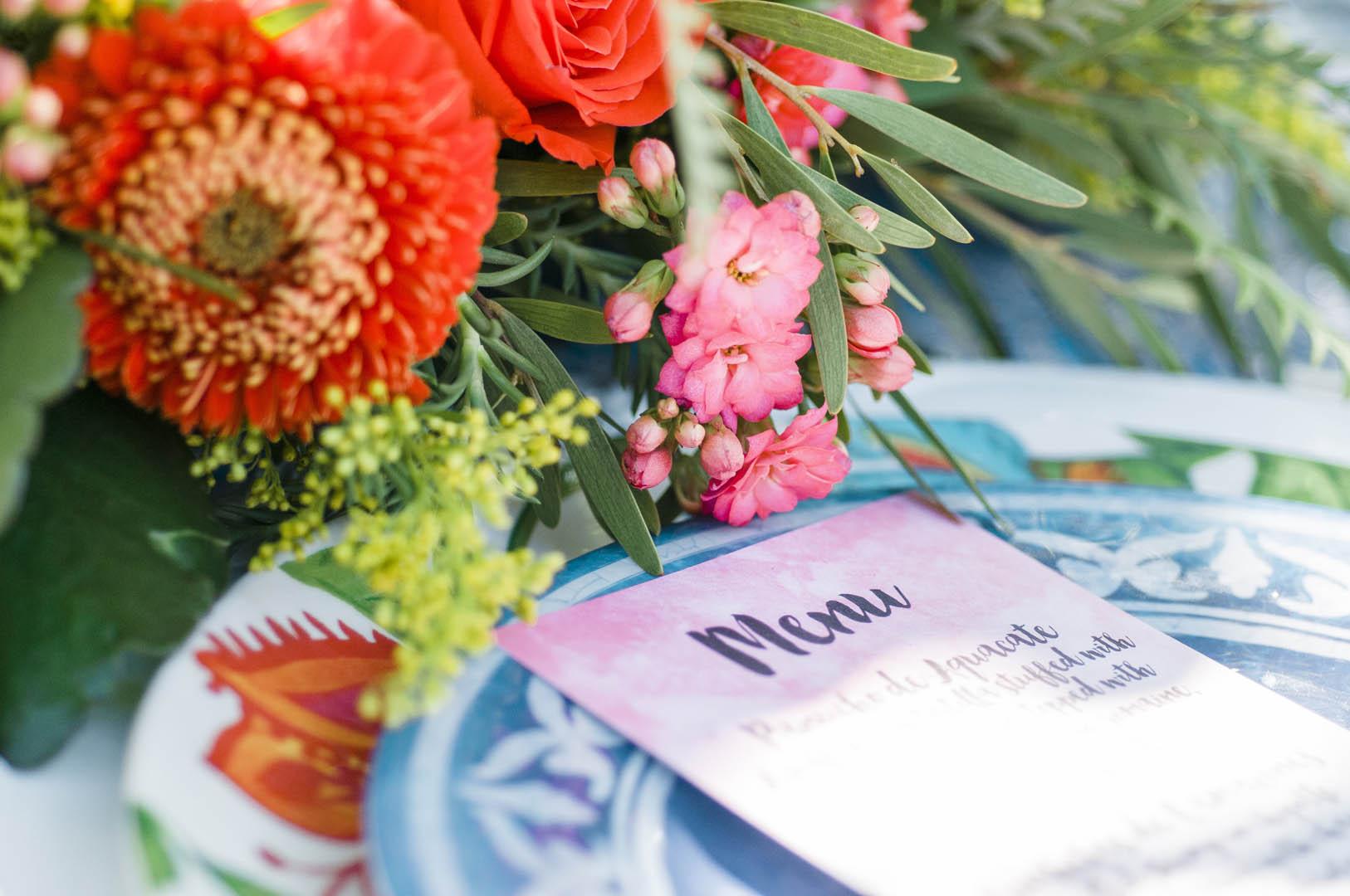 Menu Card for Fiesta Wedding Vancouver Island