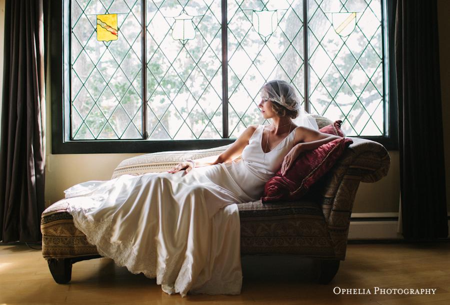 Great Gatsby Bride on settee West Coast Weddings Vancouver Island English Garden