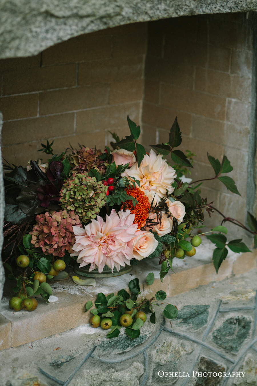 Floral Bouquet Outdoor Fireplace West Coast Weddings Vancouver Island English Garden