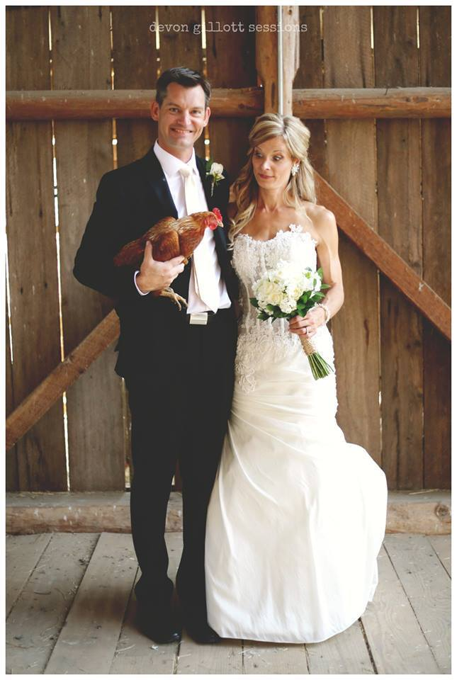 Bride and Groom with Chicken West Coast Weddings