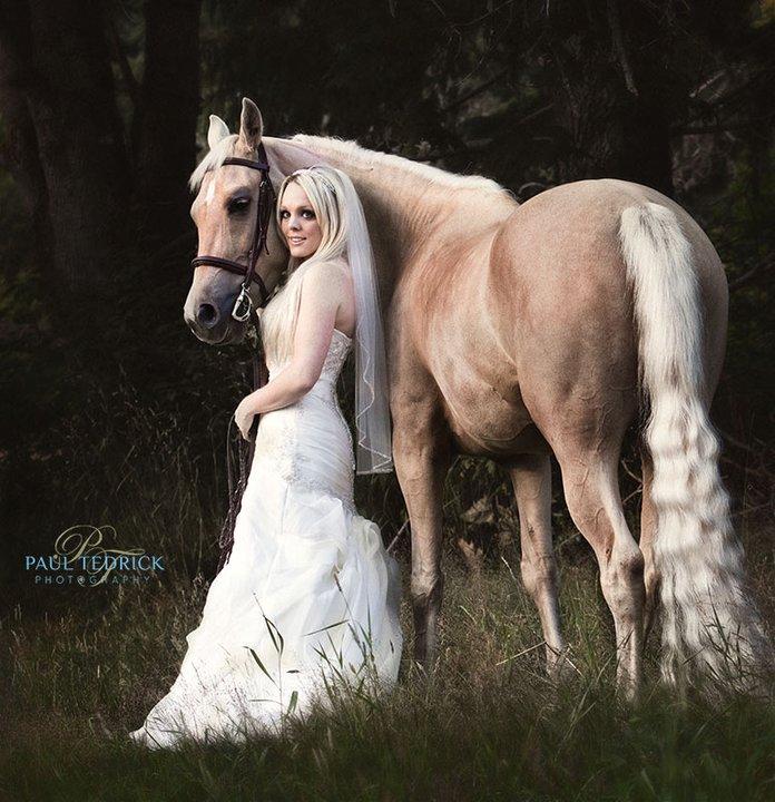Bride with her horse West Coast Weddings Magazine