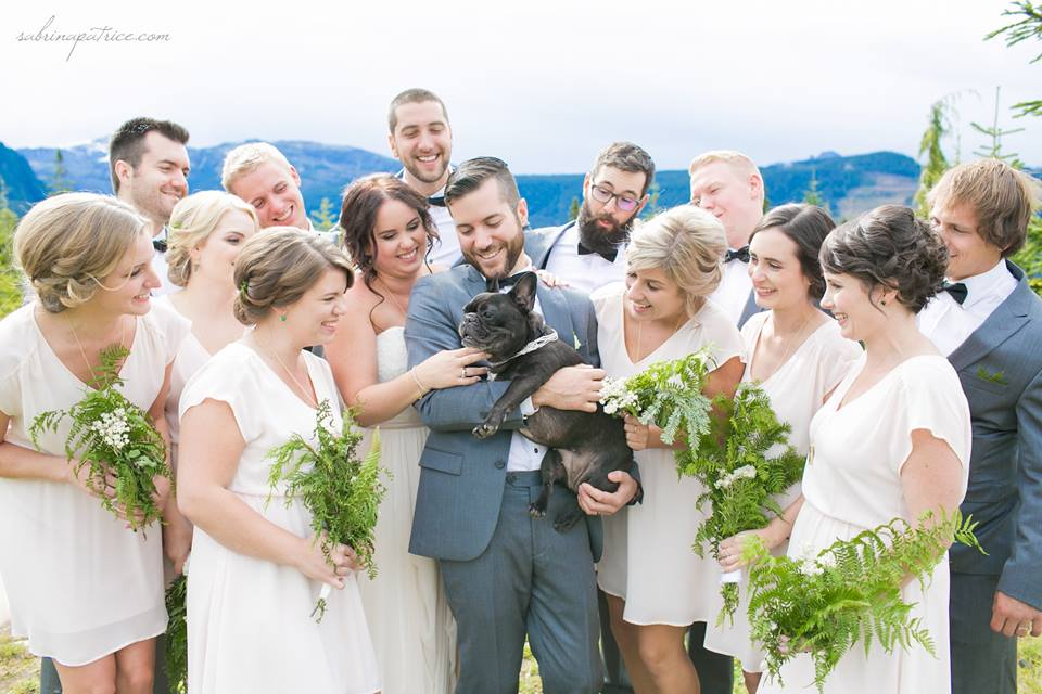 Wedding Party with cute puppy on Vancouver Island