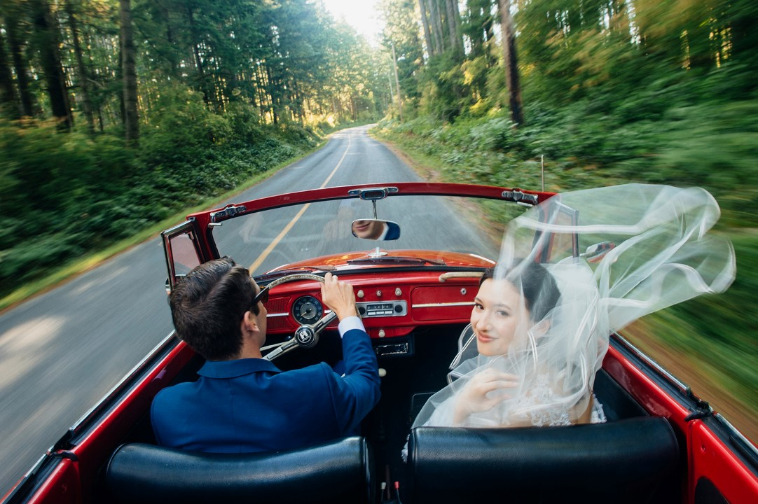 Cover Couple in Red Car West Coast Weddings Magazine