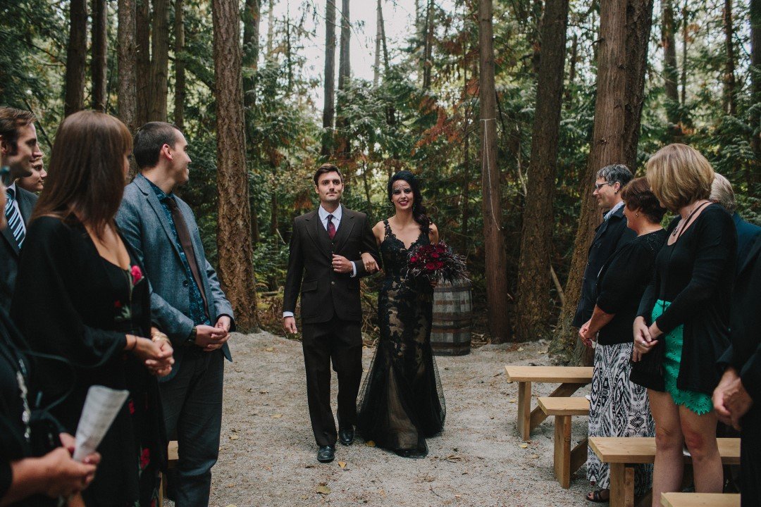 Just married forest ceremony Gothic Dark Elegance West Coast Weddings Magazine