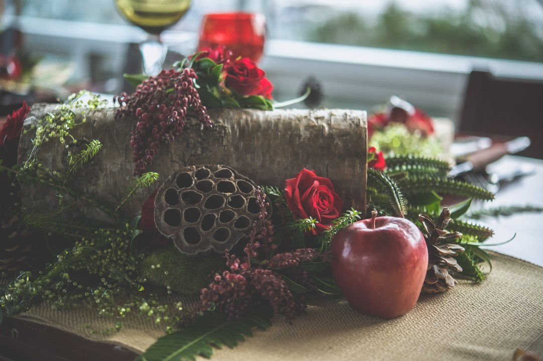 Apples and Pine Cones in Jewel Tones Decor Bracey Photography