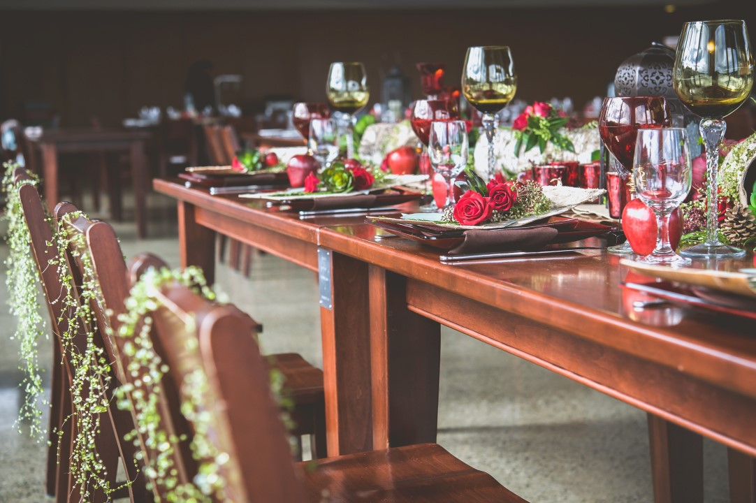 Jewel Tones for Burgandy and Green Head Table Bracey Photography