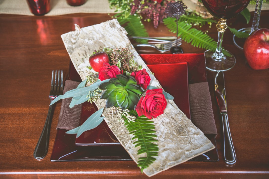 Birch and Jewel Tones on Head Table Bracey Photography