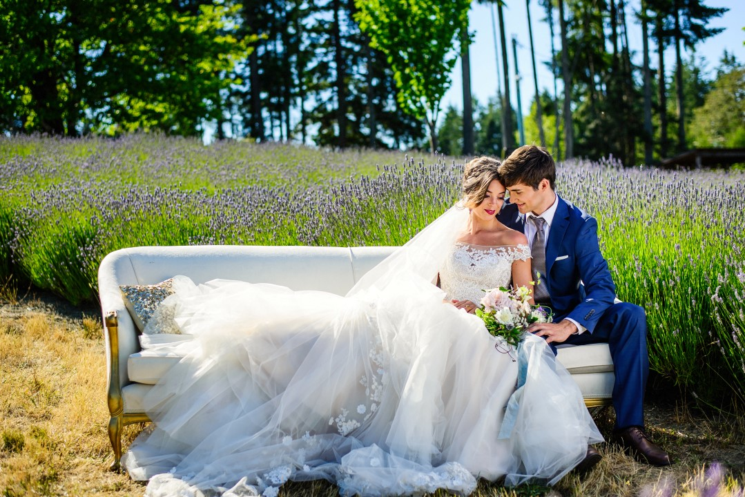 Bridal couple on couch in field of lavender Kristen Borelli Photography
