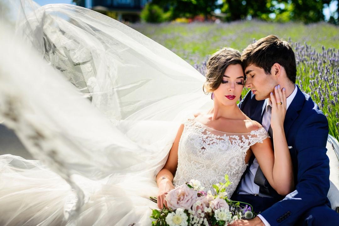 Perfect bridal shot in field of lavender Kristen Borelli Photography