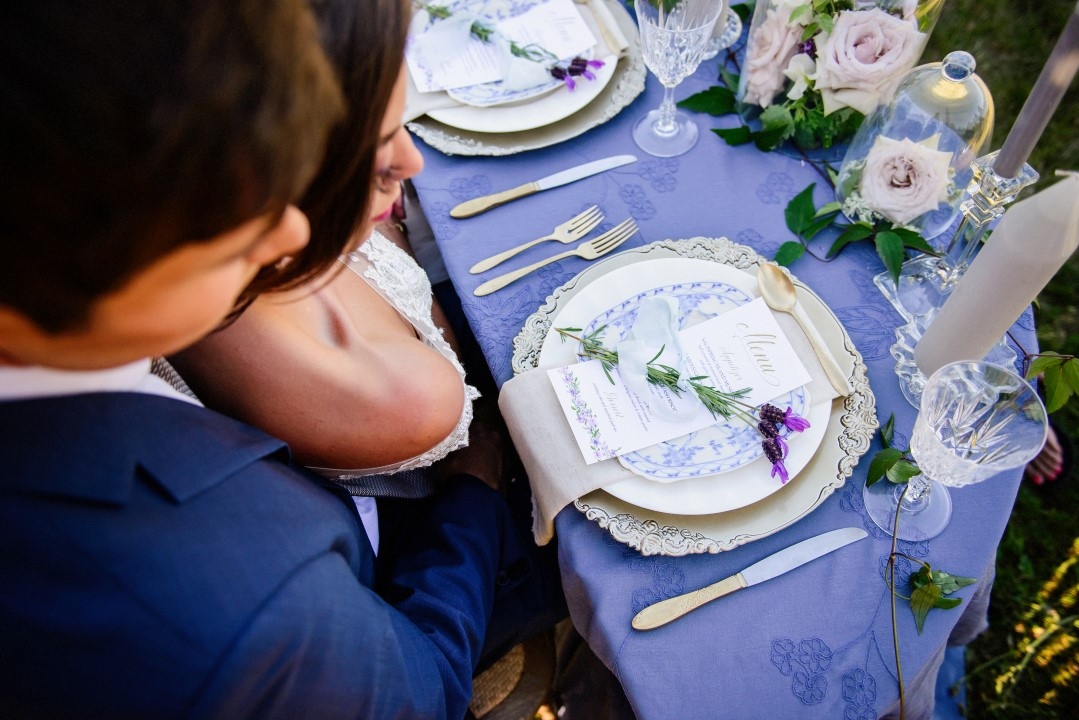 Beautiful place setting in field of lavender Kristen Borelli Photography