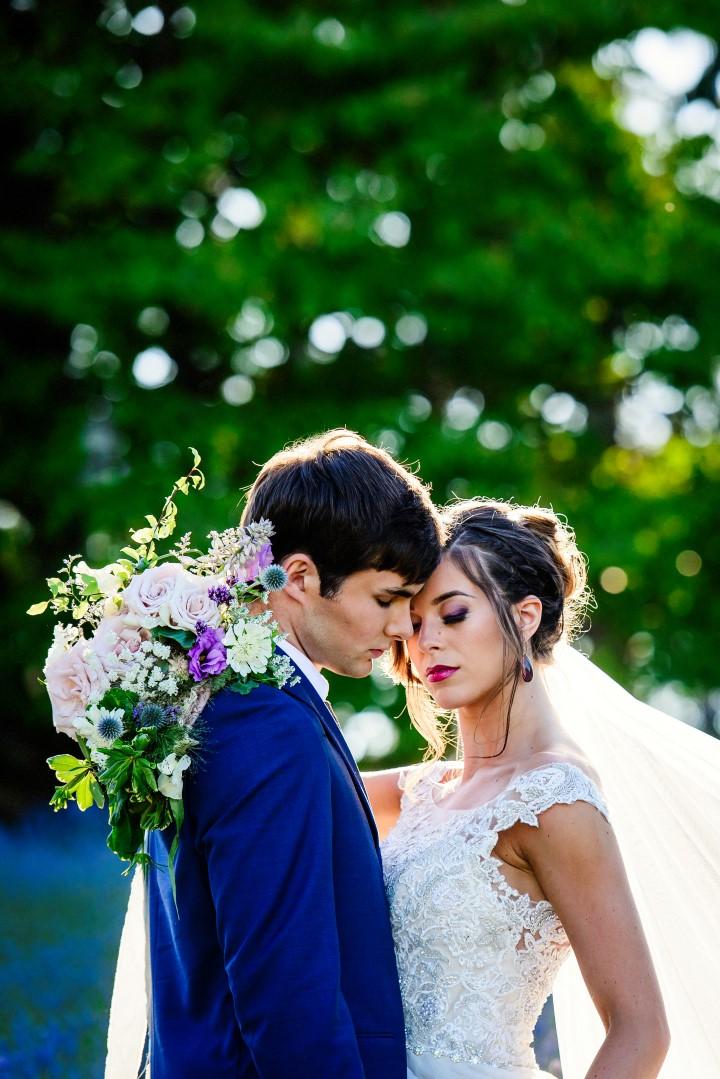 Bridal Couple in Lavender Field Kristen Borelli Photography