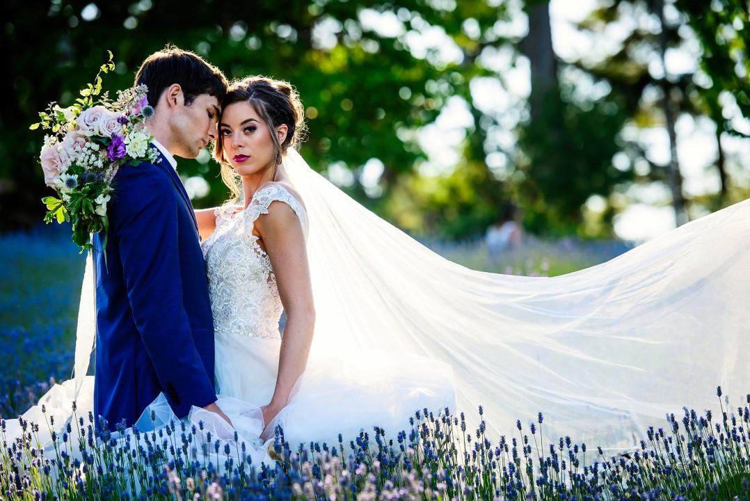 Bridal Couple in Field of Lavender Kristen Borelli Photography