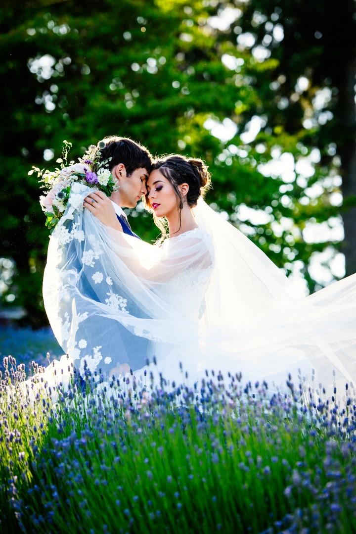 Perfect couple in field of lavender Kristen Borelli Photography
