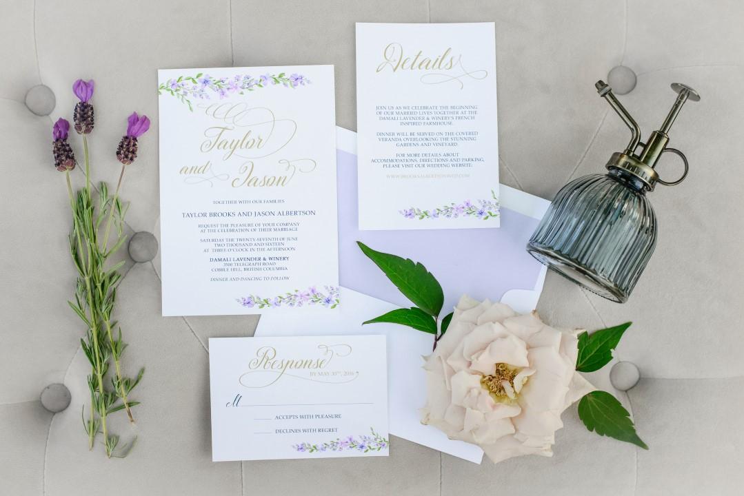 Invitation Suite of Lavender Kristen Borelli Photography