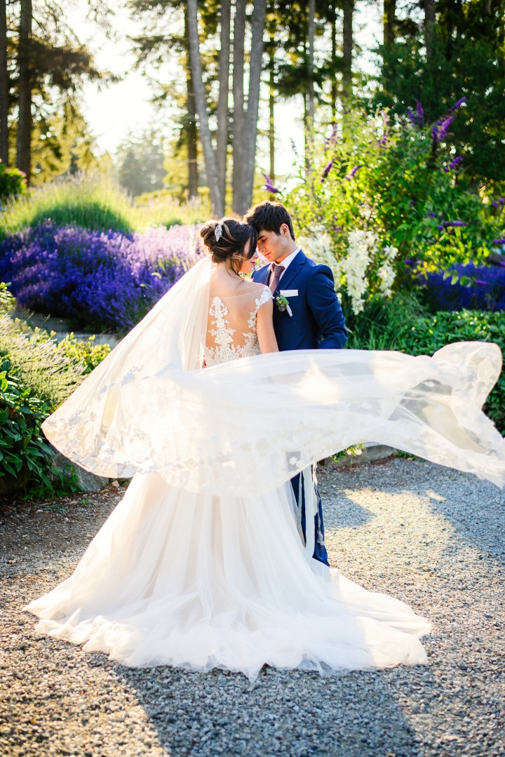 Bride and Groom in Field of LavenderKristen Borelli Photography