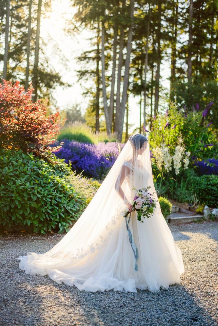 Bridal pose in field of lavender Kristen Borelli Photography