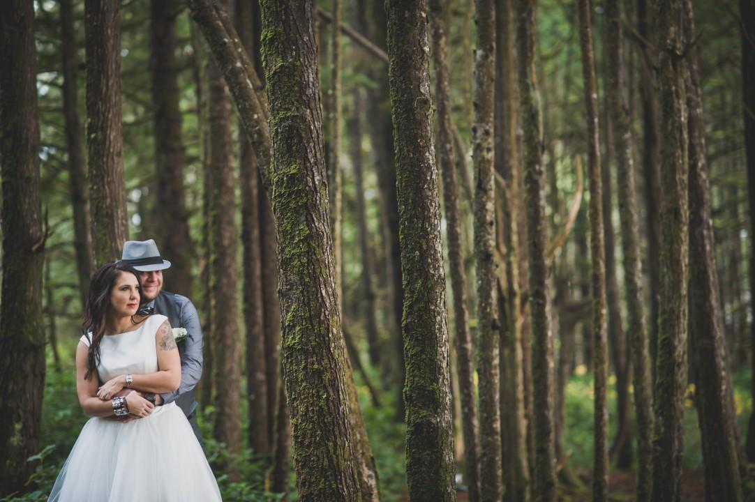 Newlyweds and Trees West Coast Elope Vancouver Island Wedding Magazine
