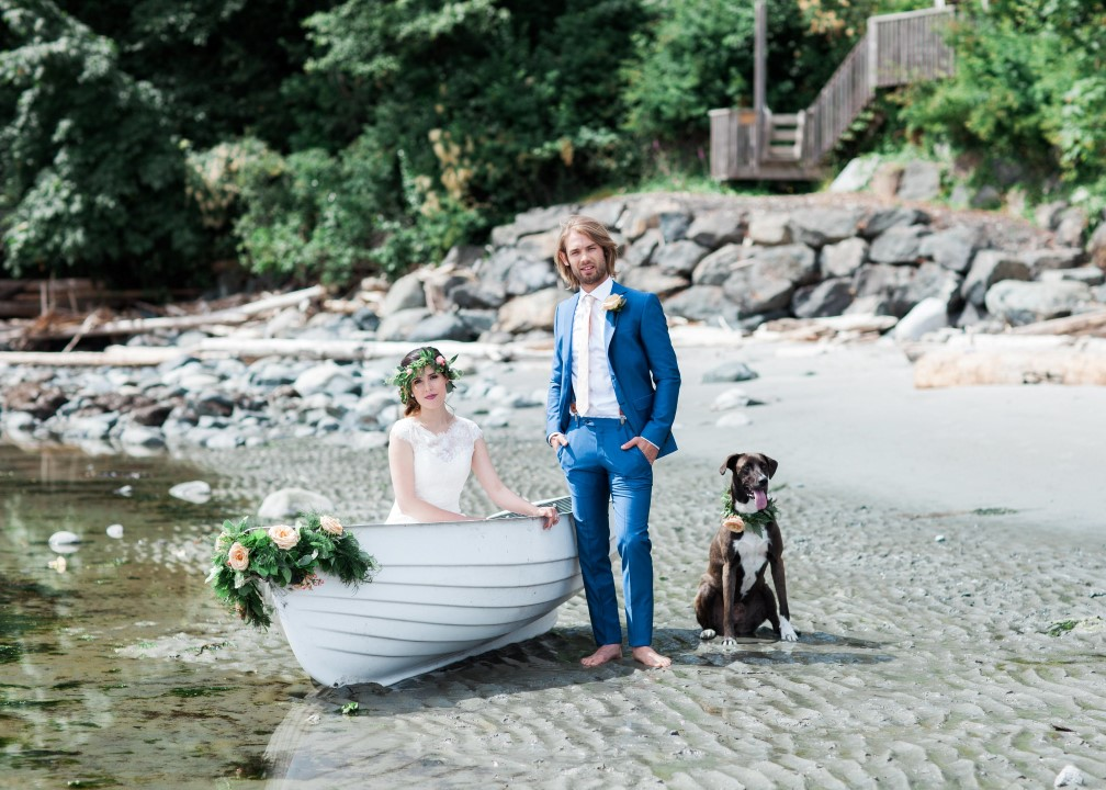 Couple and Dog in Boat Nautical Love West Coast Weddings