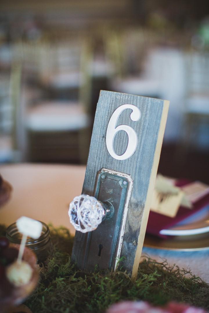 Crystal Doorknob Table NumbersHatley Castle West Coast Weddings Magazine