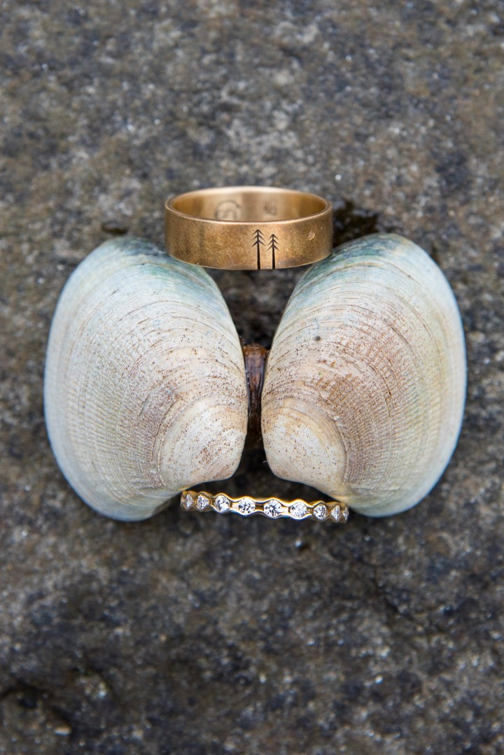 Rings with Shells Ocean View West Coast Weddings Magazine
