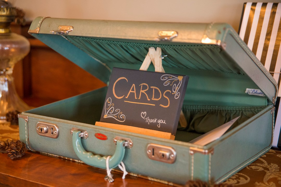 Suitcase for Reception Cards Ocean View West Coast Weddings Magazine