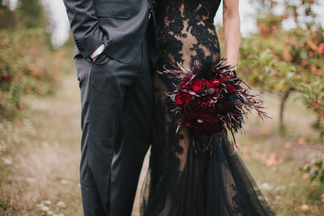 Bride and GroomGothic Dark Elegance West Coast Weddings Magazine
