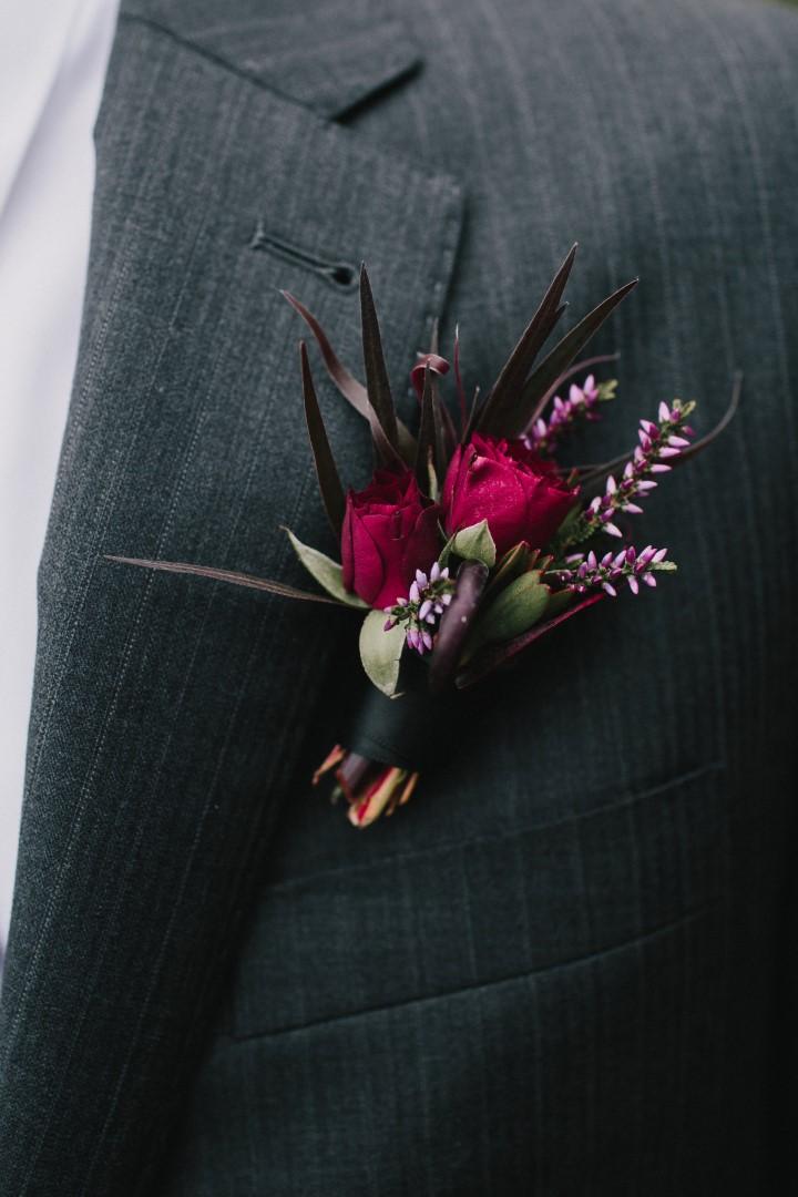 Burgandy Rose Boutonniere Gothic Dark Elegance West Coast Weddings Magazine