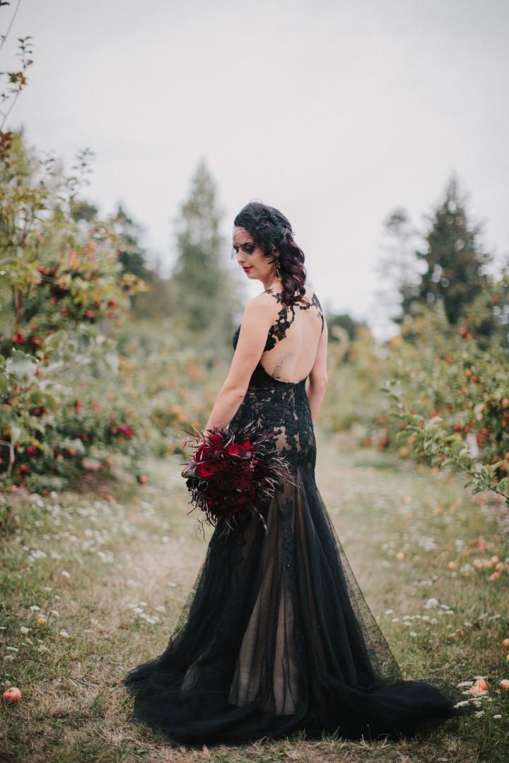 Bride in Black Lace GownGothic Dark Elegance West Coast Weddings Magazine