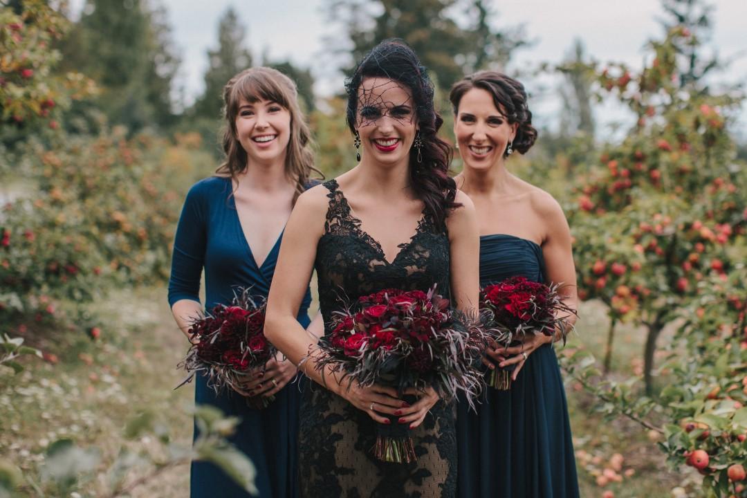Bridesmaids Gothic Dark Elegance West Coast Weddings MagazineBlack and Red