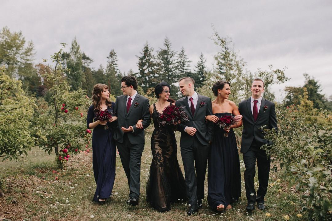 Wedding party in vineyard Gothic Dark Elegance West Coast Weddings Magazine