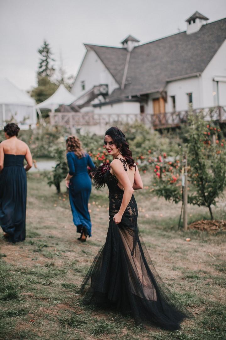 Bride in Black Lace DressGothic Dark Elegance West Coast Weddings Magazine