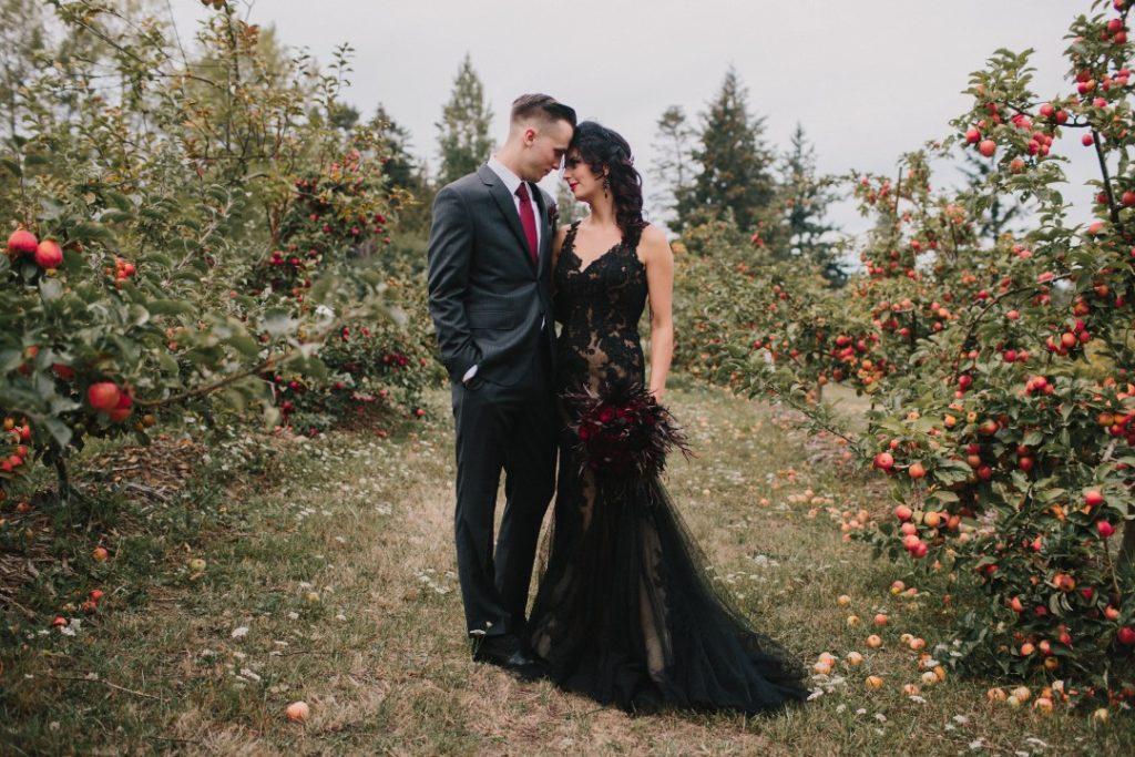Newlyweds in VineyardGothic Dark Elegance West Coast Weddings Magazine