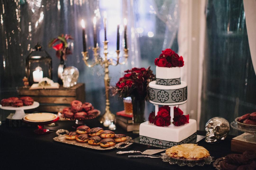 Black and Red Dessert Table Gothic Dark Elegance West Coast Weddings Magazine