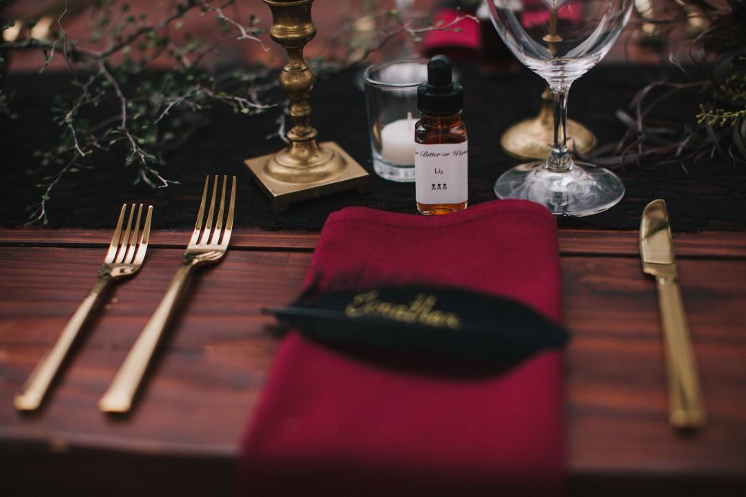 Name Card at Place Setting Gothic Dark Elegance West Coast Weddings Magazine