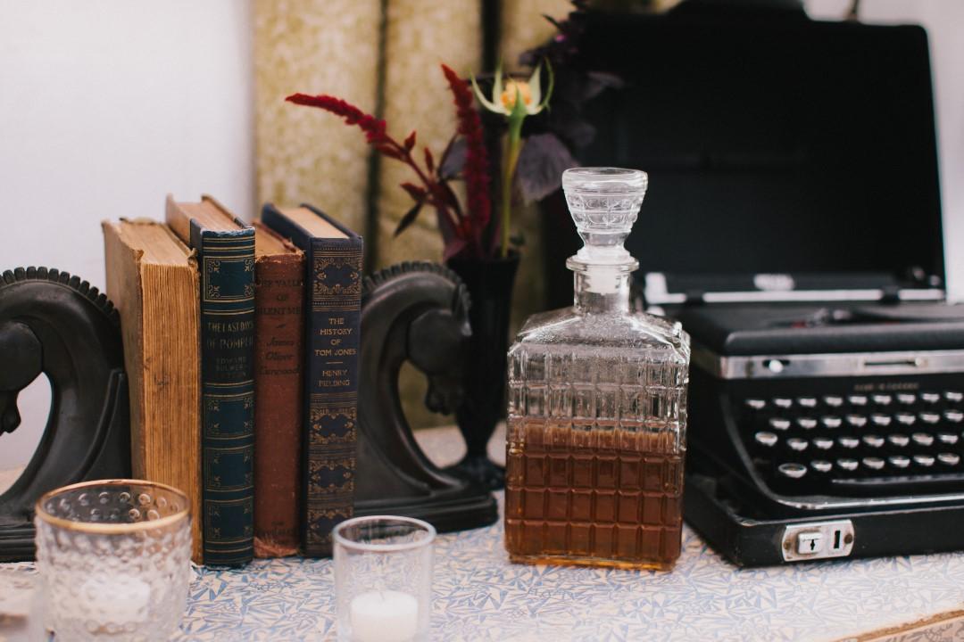 Vintage Typewriter and BooksGothic Dark Elegance West Coast Weddings Magazine
